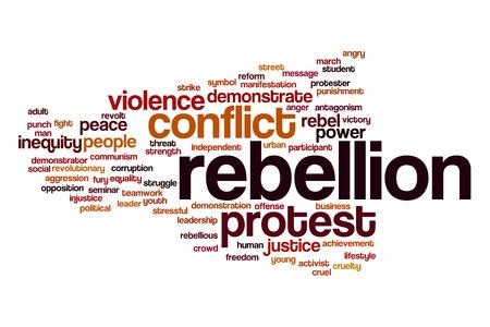 rebeldia: Rebelión concepto de nube de palabras