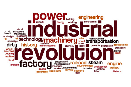 revolution: Industrial revolution word cloud concept