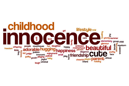 innocence: Innocence word cloud concept Stock Photo