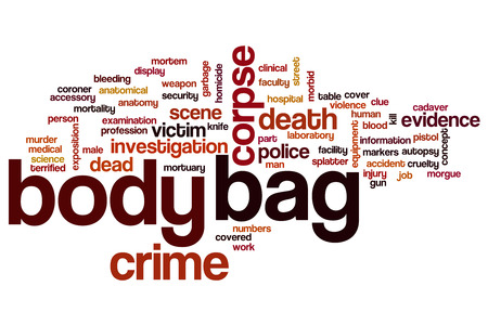 evidence bag: Body bag word cloud concept