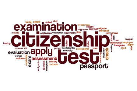 citizenship: Citizenship test word cloud concept