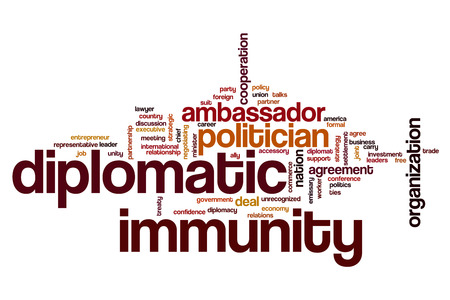 Diplomatic immunity word cloud concept