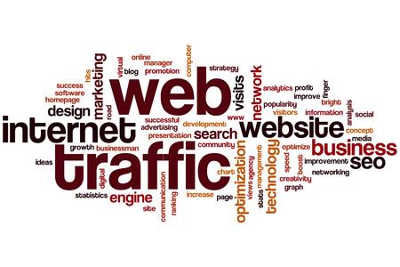 web traffic: Web traffic word cloud concept Stock Photo