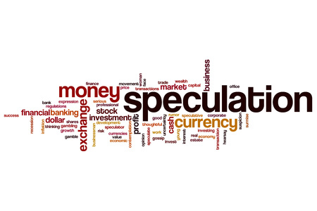 speculation: Speculation word cloud concept Stock Photo