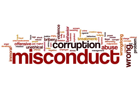 misconduct: Misconduct word cloud concept Stock Photo