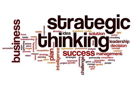 pensamiento estrategico: Strategic thinking word cloud concept Foto de archivo