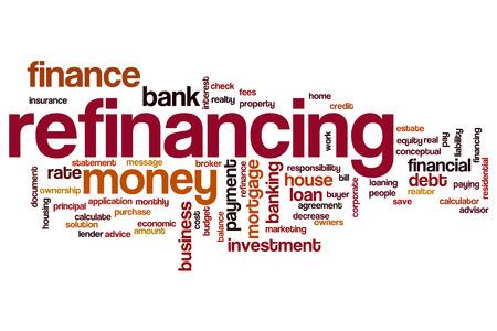 refinancing interest rates: Refinancing word cloud concept Stock Photo