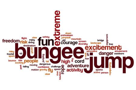 caida libre: Bungee salto concepto de nube de palabras
