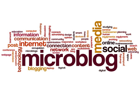 microblog: Microblog word cloud concept Stock Photo