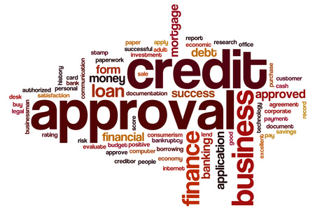 approval rate: Credit approval word cloud concept Stock Photo