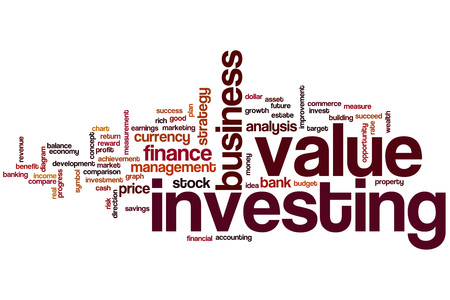 Value investing word cloud concept Stock Photo