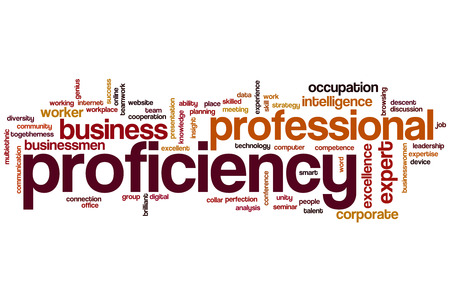 proficiency: Proficiency word cloud concept Stock Photo