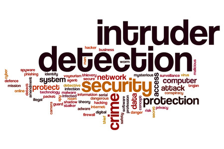 intruder: Intruder detection word cloud concept Stock Photo
