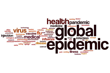 epidemic: Global epidemic word cloud concept Stock Photo