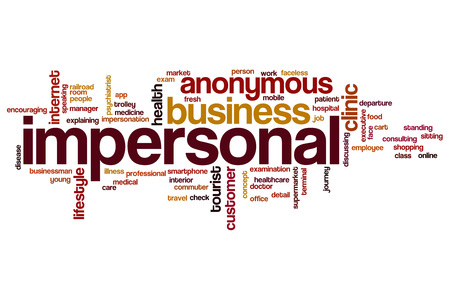 impersonal: Impersonal word cloud concept Stock Photo