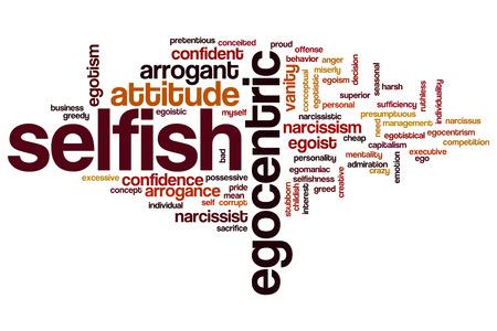 Selfish word cloud concept Stock Photo