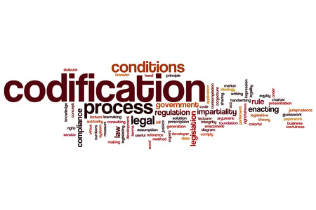 rightfulness: Codification word cloud concept Stock Photo