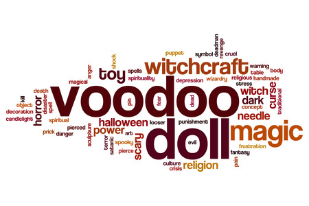 Voodoo doll word cloud concept Stock Photo