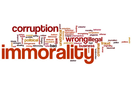 immoral: Immorality word cloud concept Stock Photo