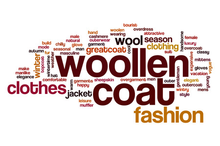 outer clothing: Woolen coat word cloud concept Stock Photo