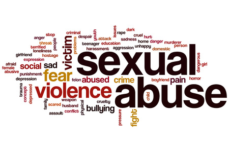 Sexual abuse word cloud concept Stock Photo