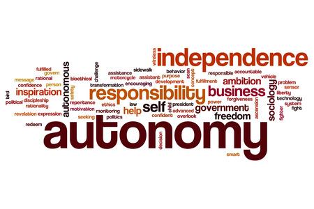 autonomia: Autonomía concepto de nube de palabras Foto de archivo