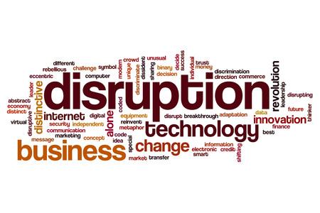disruption: Disruption word cloud concept Stock Photo
