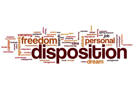 dispositions: Disposition word cloud concept Stock Photo