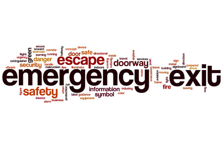 emergency exit: Emergency exit word cloud concept