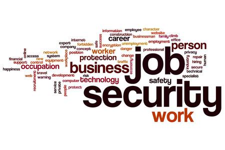 seguridad en el trabajo: Job security word cloud concept Foto de archivo