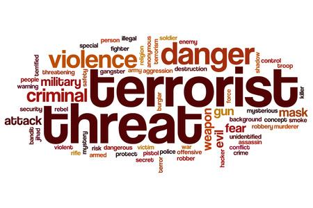 threat: Terrorist threat word cloud concept Stock Photo