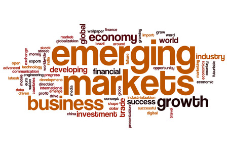 Emerging markets word cloud concept Stock Photo