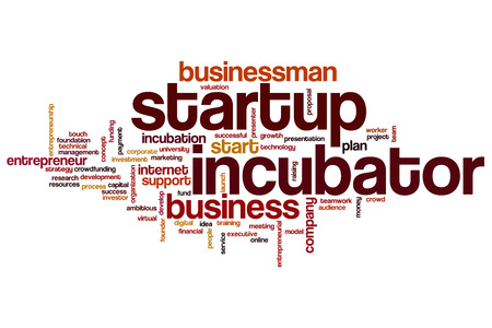 Startup incubator word cloud concept
