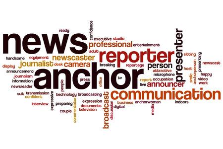 newsreader: Anchor word cloud concept Stock Photo