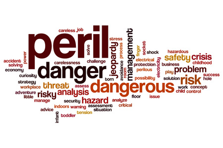 peril: Peril word cloud concept Stock Photo