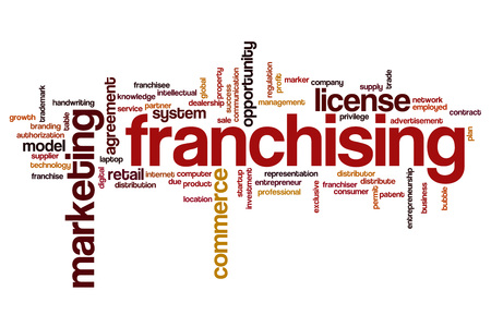 franchising: Franchising word cloud concept Stock Photo