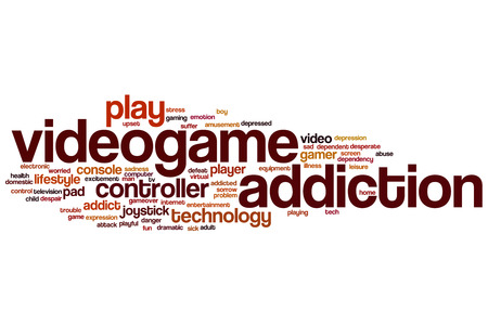 videogame: Videogame addiction word cloud concept Stock Photo