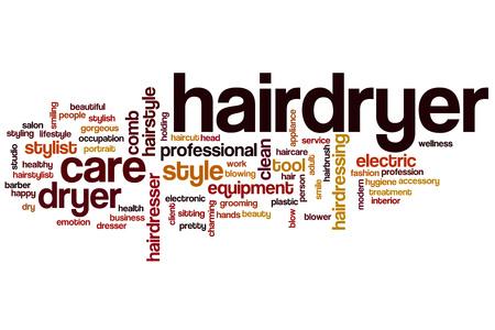 hairdryer: Hairdryer word cloud concept