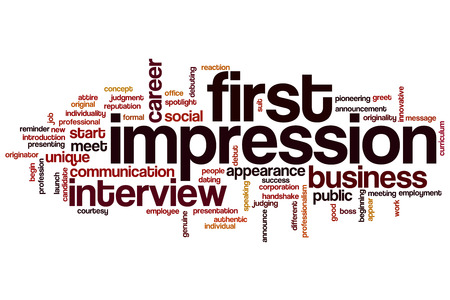 First impression word cloud concept Imagens