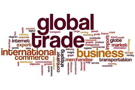 global trade: Global trade word cloud concept Stock Photo