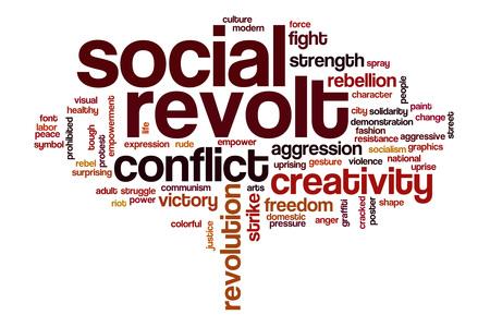 conflictos sociales: revuelta social concepto de nube de palabras