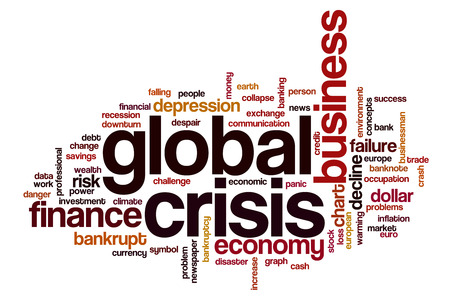 Global crisis word cloud concept