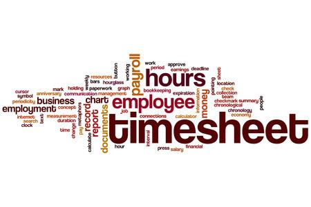 Timesheet word cloud concept Stock Photo