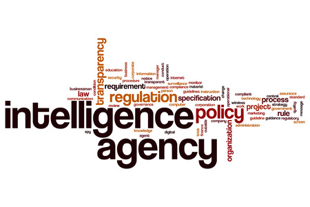 Computer instruction: Intelligence agency word cloud concept Stock Photo