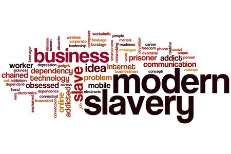 slavery: Modern slavery word cloud concept
