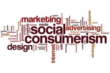 consumerism: Social consumerism word cloud concept Stock Photo