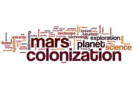 colonization: Mars colonization word cloud concept