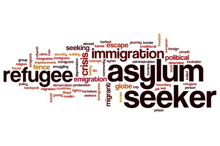 seeker: Asylum seeker word cloud concept Stock Photo