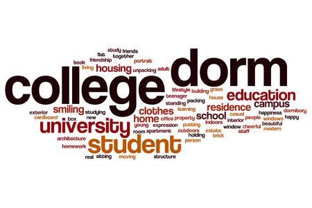 dorm: College dorm word cloud concept