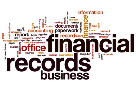 bank records: Financial records word cloud concept